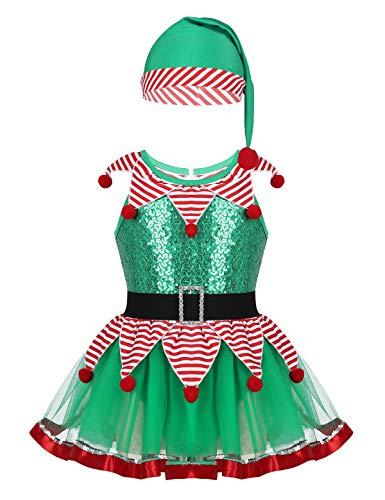 iixpin Mädchen Elfen-Kostüm Weihnachtskostüm - Xmas Elf Outfit Wichtel Weihnachtself Kostüm Glitzer Trikot Kleid mit Mütze - Cosplay Verkleidung Grün 86-92