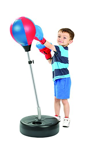 Knock Out Boxing Punching Speed Bag with Adjustable Stand & Gloves