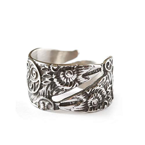 HAQUIL Viking Jewelry Odin's Ravens Ring for Men and Women, Adjustable Size