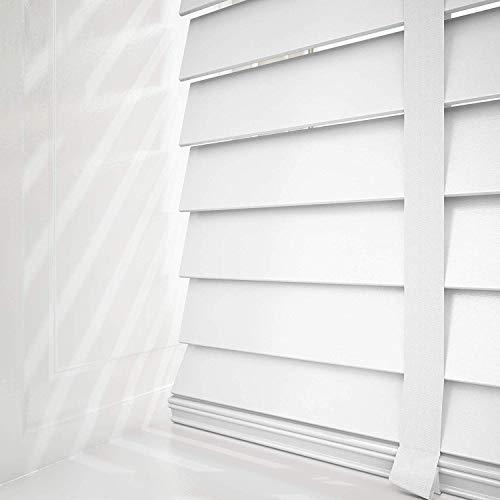 First blinds Holz-Jalousie, Weiß mit Bändern, Echtholz, 50 mm Lamellen, Maßanfertigung, holz, weiß, 60 cm Width x 120cm Drop