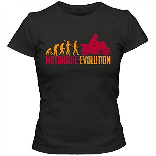 Motorbike Evolution #1 T-Shirt Motorrad Bike Motorcross Frauen Shirt, Farbe:Schwarz (Deep Black L191);Größe:S