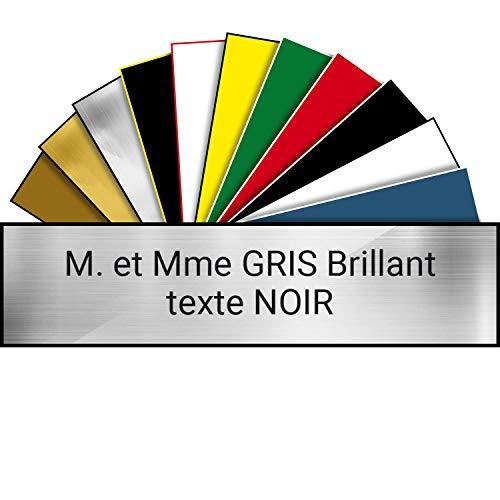 Plaque de Boite aux Lettres en PVC Sur-Mesure   1 à 5 lignes   Dimensions & Couleurs Personnalisables (100 * 25 mm, Gris Brillant)