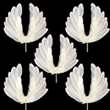 EOPER 5 Pieces Angel Wing Cake Topper Large White Feather Cake Decor for Baby Shower Wedding Birthday Party Favors