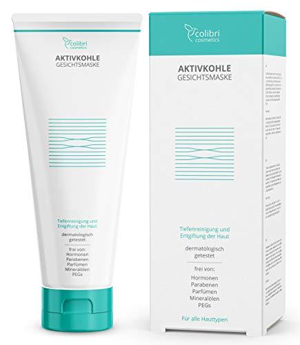 Aktivkohle Gesichtsmaske mit 2% BHA Salicylsäure - reinigt das Gesicht und verkleinert die Poren der Haut - Tiefenreinigung Maske mit Totes-Meer-Salz - 150 ml von colibri cosmetics - Made in Germany