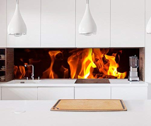 Aufkleber Küchenrückwand Feuer Lagerfeuer Kamin Flamme Holz Folie selbstklebend Dekofolie Fliesen Möbelfolie Spritzschutz 22A484, Höhe x Länge:90cm x 300cm