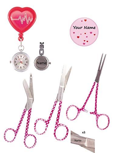 Set de accesorios de Enfermería (Reloj de enfermera, Tijeras de enfermería y Chapa de Corazones) + Grabado