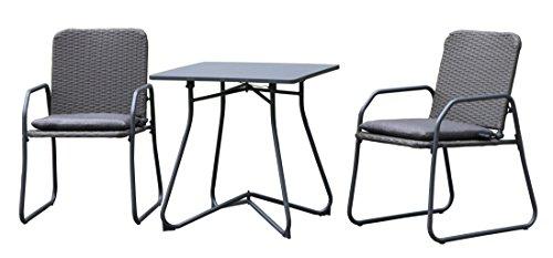 Westfield extérieur Barite Bistro Effet rotin Chaise de Jardin et Ensemble de Table pour Deux Cadres léger mais Robuste, en Charge jusqu'à 120 kg, Comprend Amovible Coussins L Anthracite/Gris