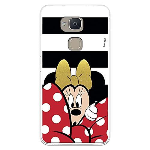 Funda para BQ Aquaris V-Vs Oficial de Clásicos Disney Minnie Fondo Rayas Blanco y Negro para Proteger tu móvil. Carcasa para BQ con Licencia Oficial de Disney.