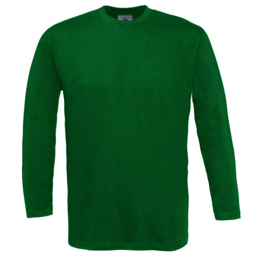 B&C Exact 150 Long Sleeve T-Shirt Manches Longues, Vert (Bottle Green 000), Large Homme