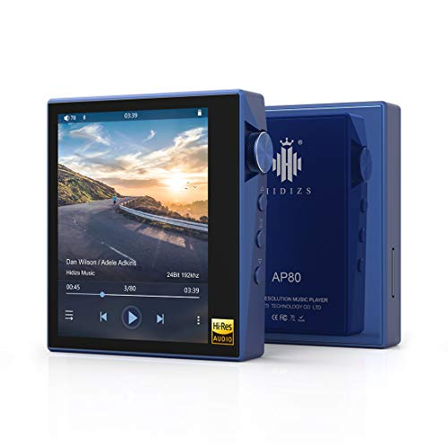 HIDIZS AP80 Hi-Fi Lossless MP3 Player with Bluetooth, High Resolution Digital Audio Player, DSD Support Hi-Res Music Player with Full Touch Screen (Blue)