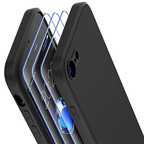 Losvick Coque pour iPhone SE 2020, Coque pour iPhone 8, Coque pour iPhone 7, 3 Pack Film de Verre trempé, Etui Silicone Liquide Souple Bumper Doublure en Microfibre Case Cover pour iPhone SE - Noir