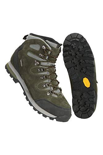 Mountain Warehouse Excursion wasserdichte Vibram-Stiefel – Obermaterial aus Wildleder-Mesh, gepolsterte Schuhe mit Fußbett, Stabiler Halt – ideal für Reisen, Wandern Khaki 42