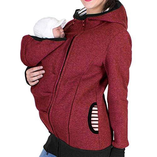URSING Tragejacke für Mama und Baby 3 in 1 Damen Langarm Kapuzenpullover Kapuze Känguru Umstandsjacke Fleecepullover Warm Tragepullover mit Babyeinsatz Pregnancy Hooded Sweatshirt Pullover für beide …