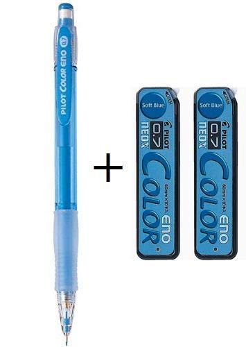 Pilot Color Mechanical Pencil Eno 0.7mm Soft Blue (HCR-12R-SL7)+ Pencil Lead Eno 0.7mm Soft Blue 10 Leads (HRF7C-20-SL) x 2set