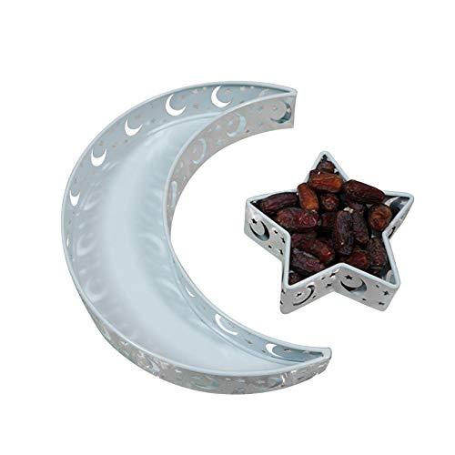 Muslim Eid Food Tray Teller Mond Und Stern Muster Ramadan Kulbang Tischdekoration DIY Party Gebäck Tablett