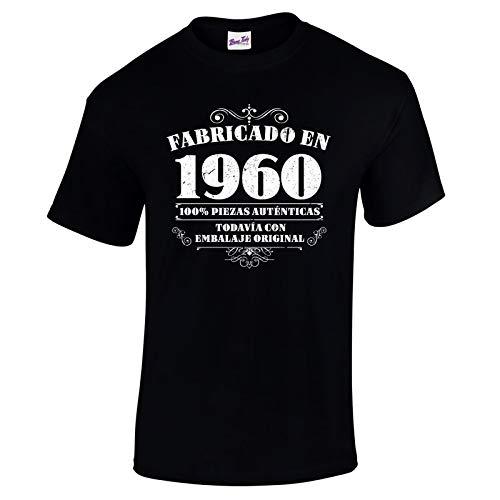 Bang Tidy Clothing Camiseta de Hombre para Regalo de 60 cumpleaños Manufactured 1960 en Negro Talla M