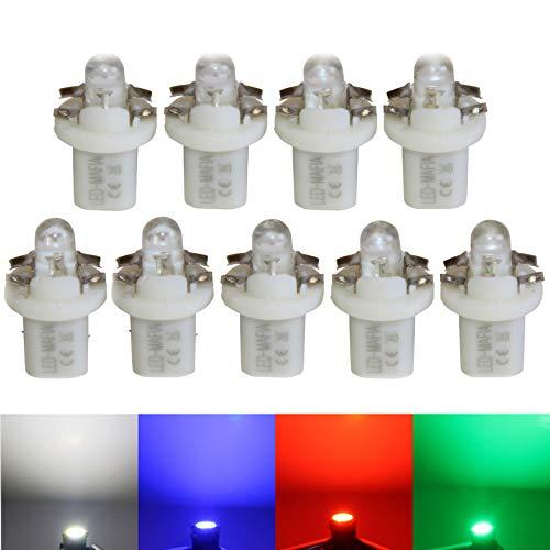 LED-Mafia Lot de 9 ampoules halogènes rondes Heat pour tableau de bord - Blanc, bleu, rouge, cockpit C (blanc)