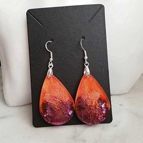 Pendientes de resina hechos a mano con técnica'Placa de Petri', idea de regalo para joyería de mujer, colgantes de gota naranja