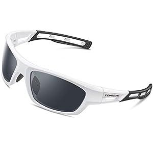 PONOSOON Polarized Sports Sunglasses for Men Women for Cycling Running Fishing Golf TR90 Frame 007 (White&Black&Gray Lens)