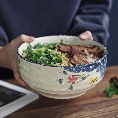 DJY-JY Cuenco de cerámica pintado a mano estilo japonés retro redondo de frutas ensalada ramen sopa tazón creativo de gres vajilla