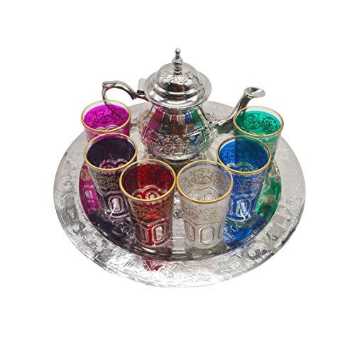 Set da tè marocchino, teiera in argento tedesco, 400 ml, vassoio piatto in ottone argentato 30 cm e 6 bicchieri colorati