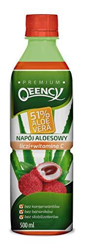 QEENCY Aloe Drink 51% Aloe Vera Lychee - 500 ml, natürlich, kalorienarm und vegan Reich an Vitamin C 24er Pack (24 x 500 ml)