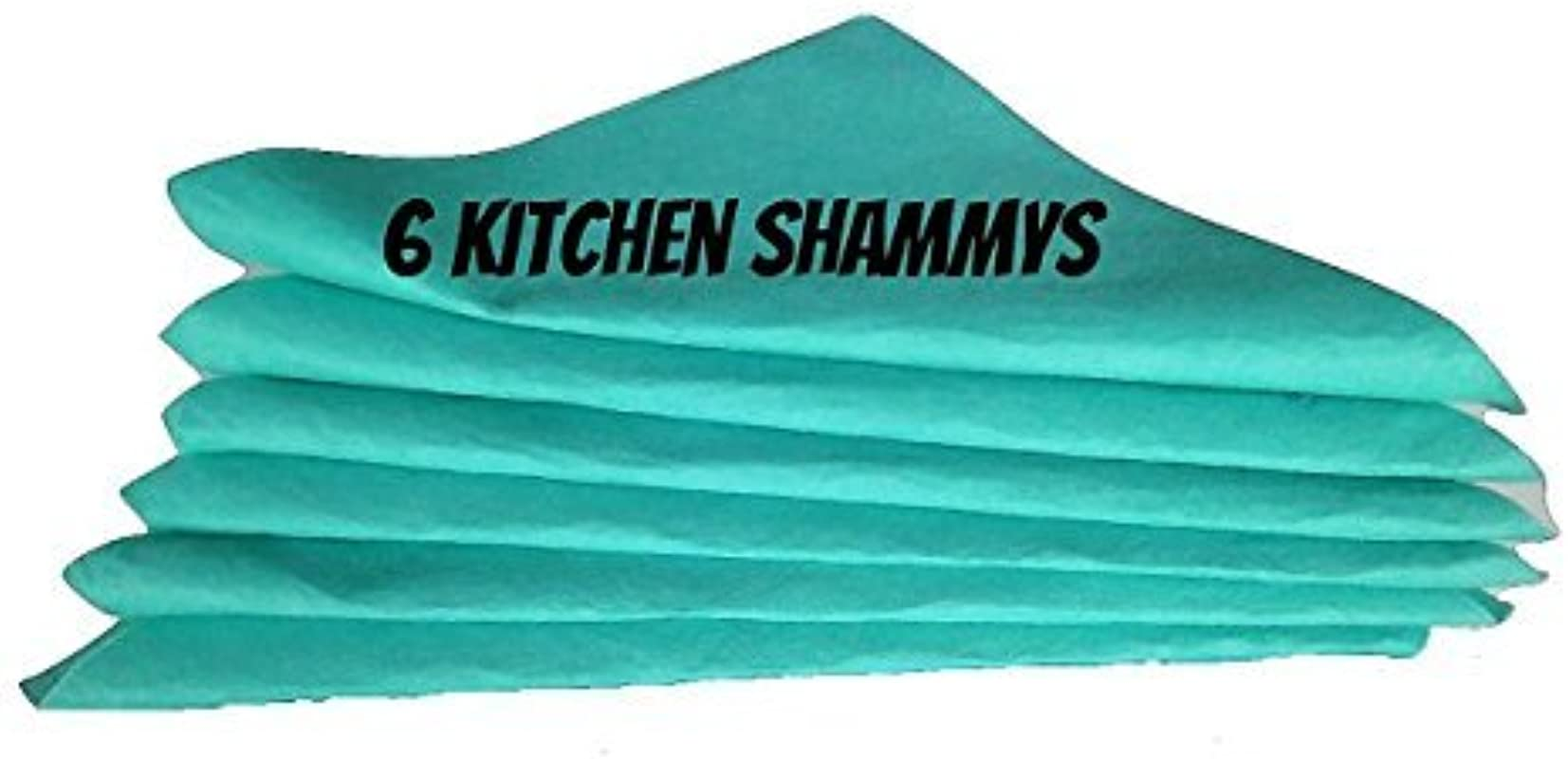 Chamois Shammy 6 Pack 16 X 16 Super Absorbent Kitchen Shammy 1 27 X 20 Super Shammy 260 Gram 1 Bonus Microfiber Towel