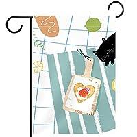 ウェルカムガーデンフラッグ(12x18in)両面垂直ヤード屋外装飾,猫と食べ物