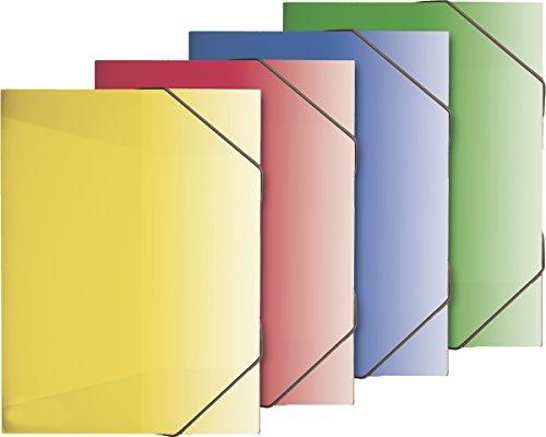 Brunnen 104163928 Sammelbox / Heftsammler FACT!pp (transluzenter PP-Folie, für A4, mit Gummizugverschluss) 4 Farben sortiert