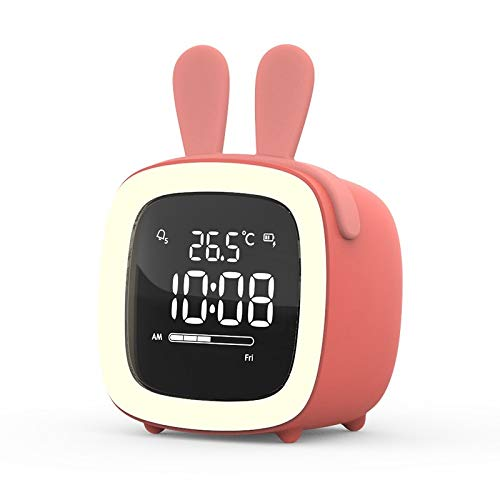 pridesong Student Wecker kreative Mini Wecker Touch-Schalter Schlummerfunktion Digitalanzeige LED warmes Licht [orange] + Ladeleitung Hasenohren