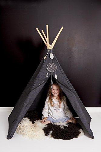 Roommate anthrazit Hippie Tipi - Original Hippie Tipi Kinderzelt, Indianerzelt, Spielzelt des skandinavischen Kultlabels Innen und Außen