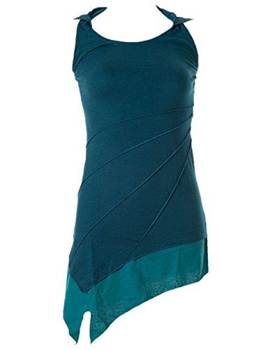 Vishes – Alternative Bekleidung – Asymetrischer Neckholder aus Baumwolle mit Zipfelkapuze – zweifarbig türkis 36