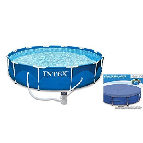 Intex 10ft x 30in Metal Frame Swimming Pool Set w/Filter Pump & Debris Cover