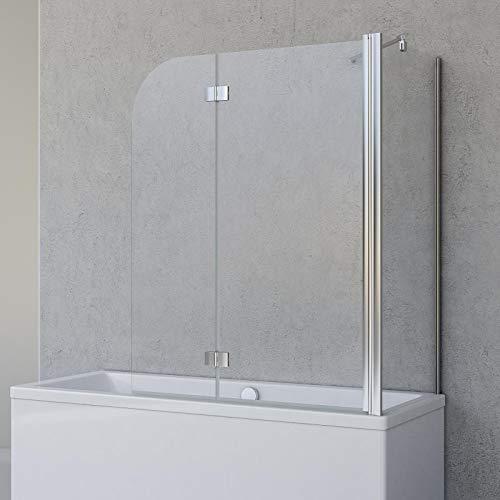 Schulte Badewannenfaltwand Angle, 2-teilig 112 x 142 cm mit Seitenwand für 70 cm Badewanne, 5 mm Sicherheitsglas (ESG) Klar hell, Chromoptik, D693477201 41 50