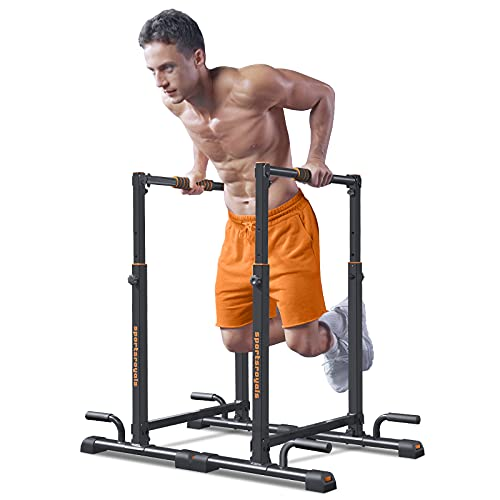 Sportsroyals Dip Bar, Adjustable Parallel Bars for Home Use, Dip Station with 6 Height Level & 1200LBS Weight Limit