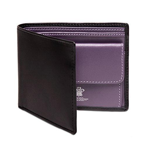 ETTINGERメンズスターリングBillfold with 3クレジットカードSlips、ブラックとパープル
