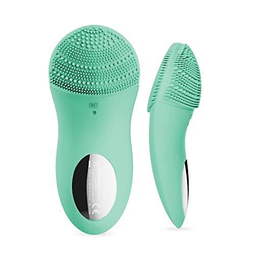 Cepillo de Limpieza Facial Cepillo Masajeador Facial de Silicona Sónica Impermeable Carga Usb con Ajuste de 10 Velocidades Ajuste de Tiempo de los 90s para Una Limpieza Profunda Exfoliante (Verde)