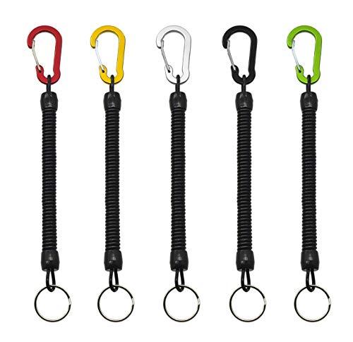 Porte-clés Spirale élastique 5 pièces avec Mousqueton de Couleur, Porte-clés rétractable, Porte-clés à Ressort, utilisé pour Les clés, Portefeuilles, téléphones Portables, Sacs à Dos (5 Couleurs)