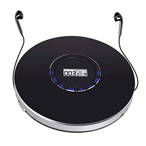 Adesign Reproductor de CD Portátil Recargable Batería Personal CD Player Support Última Memoria Anti-Skip Protection Pantalla LCD con Cable AUX para niños Audiolibros