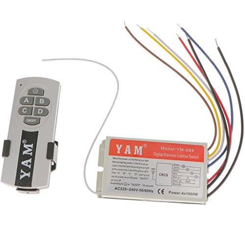 MERIGLARE Interruptor de Luz Inalámbrico de Y 4 Canales, Interruptor de Pared, Luz de Lámpara, Control Remoto RF