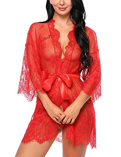 Avidlove Dreiteilig Nachtwäsche Negligee Kleid Gown Kurz Babydoll Erotik Lingerie mit G-String Gürtel Nachthemd Transparente Dessous Damen Sexy Robe Long Sleeve Sheer Mesh Lace-Trim M Rot