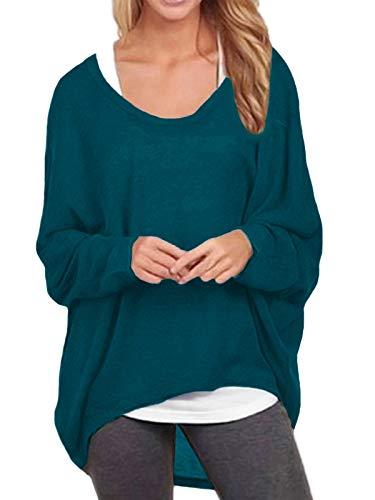 ZANZEA Damen Lose Asymmetrisch Jumper Sweatshirt Pullover Bluse Oberteile Oversize Tops Cyan EU 42-44/Etikettgröße L