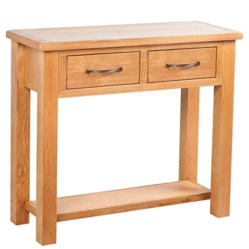 vidaXL Console Table 2 Drawers with Handles 83 x 30 x 73 cm Oak Brown Easy Assembly