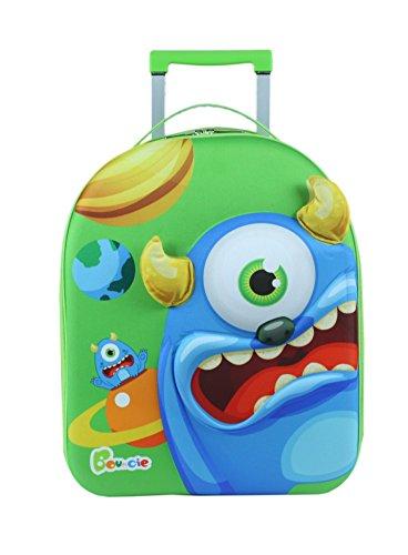 Bayer Chic 2000 Bouncie Kinder-Trolley mit 3D-Monster-Motiv, Kinder-Reise-Koffer, Kindergepäck, grün, 40 cm
