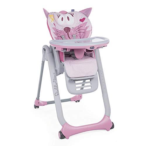 Chicco - Chaise Haute Bébé Polly 2 Start - 4 Roues - Naissance à 3 ans - Miss Pink