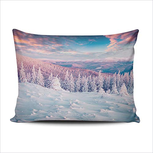 RGEMK Home Decoration Pillowcase Cushion Cover Artistic New Year Colorful Morning Winter Wonderland in Carpathian Throw Pillow Case Chic Design One Side Printed Boudoir Size 12 x 18 Inch