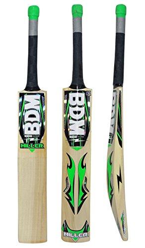 BDM Miller Kaschmir Willow Wood Cricket-Schläger mit Tragetasche Erwachsen-Größen Kurzgriff - Gewicht wählen