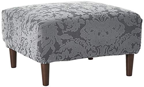 Surefit Stretch Jacquard Damask Box Cushion Ottoman Covers Slipcover, Form Fit, Polyester/Spandex, Machine Washable, Gray