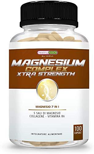 Magnesio puro + Collagene + Vitamina B6 | Elimina dolori muscolari e l'affaticamento | 5 sali di magnesio bioassimilati | Ottimizza il tuo sistema nervoso | Recupera la tua vitalità | 100 capsule