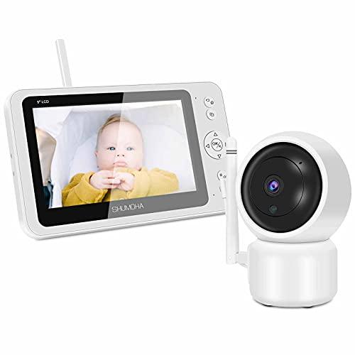 Vigilabebés Con Cámara De 5'' Pantalla Hd 1080P SHUMDHA Vídeo Monitores de Bebé Alcance De 300 M,Vigilancia Para BebéS Con Modo Eco,Interfono,Visión Nocturna